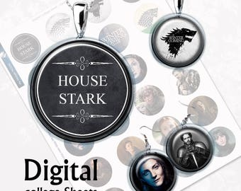 Game of Thrones House of Stark Digital Collage Sheet  1,5 inch, 1 inch, 15 mm Jewelry Supplies, Bottle Caps, Crafts, Scrapbooking