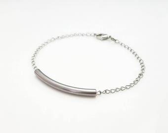 Tube Bracelet - Minimalist Bracelet - Everyday Jewelry - Curved Tube - Dainty - Simple Bracelet - Stainless Steel - Gifts Under 10 -
