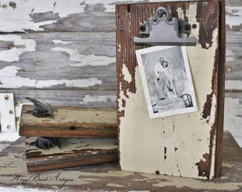 Clipboard Architectural Salvage Barn Wood Photo Holder Chippy Paint Reclaimed Rustic Farmhouse Decor Fixer Upper Decor