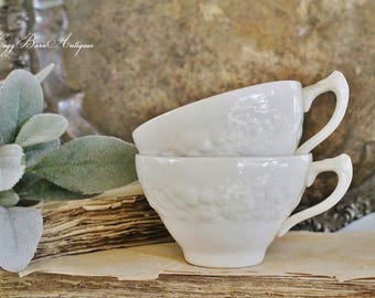 Antique White Ironstone FLORENTINE Coffee Cups Mugs  Farmhouse Decor Fixer Upper Decor SET of 2