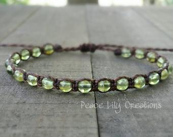 Peridot macrame bracelet august birthstone healing gemstones yoga bracelet earthy bracelet stacking bracelet