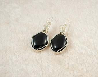 Natural Black Onyx Wire Wrapped Sterling Silver Earrings