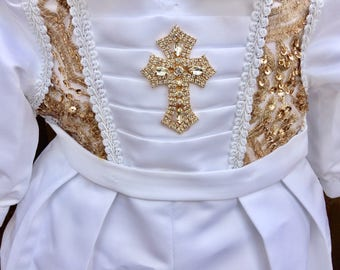 Scott White Gold Baptism outfit for Boy, one piece Christening set, Blessing, Traje de Bautizo, Ropon del papa para nino, Ajuar Bautismal