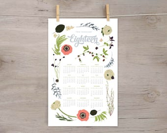 2018 Wall Calendar, 11x17 Year-at-a-Glance Calendar, Botanical Illustration, flowers, wildfllowers, floral garland and laurels