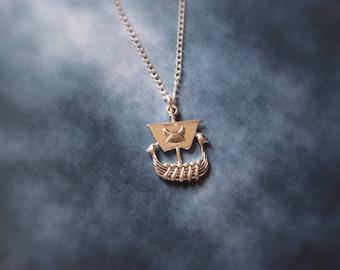 Viking Ship Necklace, Viking Boat Necklace, history geek gift, gamer gift, stocking stuffer, geeky necklace, geeky gift viking gift necklace