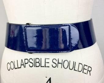 Vintage ARMANI Blue Patent Leather Wide Belt Ladies Designer