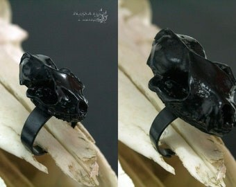 Bat skull ring. Black skull jewelry. Bat ring. Pagan jewelry. Pagan ring. Wicca ring. Wicca jewelry. Goth ring. Goth jewelry. Gothic ring