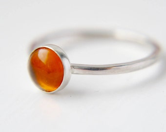 Stacking ring, Amber stacking ring, Amber jewellery, Gemstone ring, Simple ring, Gift for her