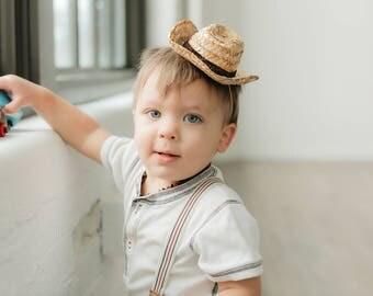 Mini Straw Cowboy Hat || Western Party Hat