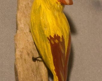 Cardinal - female left facing. Handcrafted, carved  wooden bird, painted bird, home decor, wall decor, Made in USA