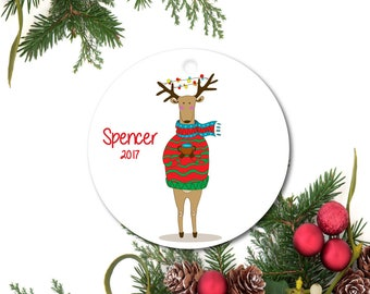 Deer Ornament, Funny Ornament, Quirky Ornament, Personalized Ornament, Custom Christmas Ornament, Cute Ceramic Ornament, Holiday Gift