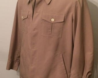 Vintage MENS Mighty-Mac Ponderable tan coat or jacket with striped lining, size 46