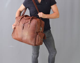 The Vagabond Extra Large: Vintage style brown leather holdall duffle weekend bag flight cabin unisex mens personalized luggage tag gift