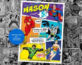 Superhero Invitation. Justice League Party. Superheroes BirthdayParty. Batman. Superman. Flash. Green Lantern. Wonder Woman.