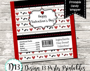 Instant Download Valentine Candy Bar Chocolate Bar Wrappers Favor Print Your Own Digital