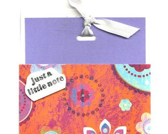 Just A Little Note Card and Envelope Set Handmade Card With Fabric Tie All Occasion Card Greeting Card Enclosure Card Gift Card Holder