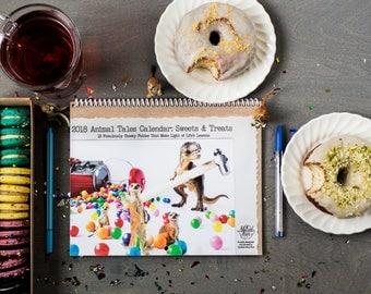 2018 Funny Wall Calendar • Sweets & Treats 12Month Calendar •Gift for Animal Lover • Gift Under 25 • Animal Tales Calendar •Funny Calendar