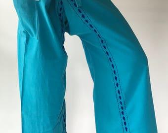 FW0017  Hand stitch Unisex Thai fisherman pants, stitch Inseam design for Thai Fisherman Pants Wide Leg pants, Wrap pants