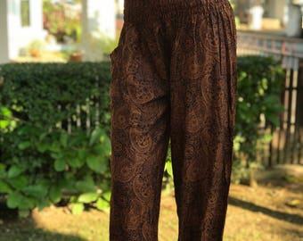 SM0390 Smock Aladdin Pants Pants Boho Pants Gypsy Pants Rayon Pants