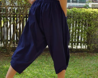 KD0068 Samurai Pants Black and White pants Handmade pants, Thick Smock Waist Low Crotch, elastic waistband  - Fits all !