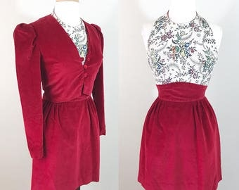 Vintage 1960s Dress / Red Velvet / Matching Jacket / Tapestry / Halter Mini