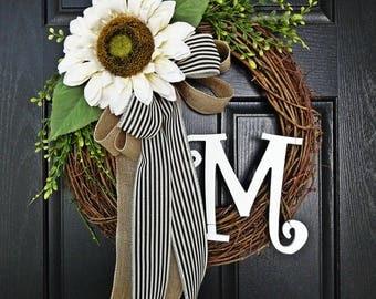 Cream Sunflower Wreath, Fall Wreath, Summer Wreath, Burlap Wreath, Curly Monogram Wreath, Curly Letter, Autumn Wreath, Off White Wreath