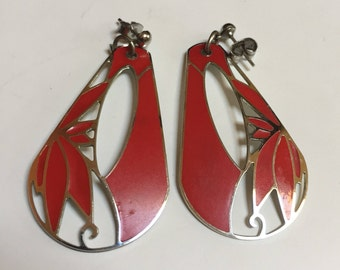 Berebi Silver tone & Red Dangle Earrings