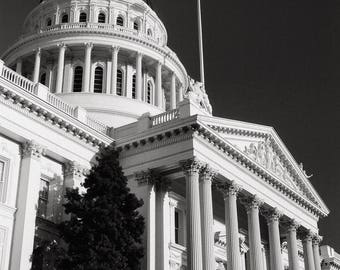 California State Capitol Building, Black and White Photography, Sacramento California, Black & White Print, Neoclassical Architecture Photo