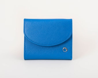 Woman leather wallet, trifold leather wallet, MINI Electric Blue Genuine Leather, Saffiano Leather Wallet, slim womens leather wallet
