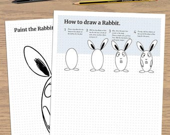 How to Draw a Rabbit - Drawing for kids - Printable PDF