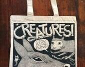 Screen Print Bag Creature Comic Tote