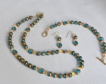 Aqua Table Cut and 8-Cut Luster Glass, Gold Seed Beads Necklace, Bracelet and Earring Set, Beaded Jewelry, Gift