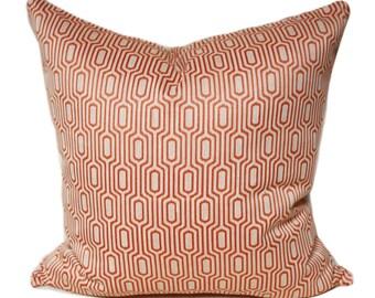 18x18 orange and beige pillow cover, wolf gordon Highline Petunia Orange Fabric, orange pillow, modern pillow