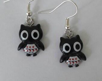 Cute and funny kawaii black owl earrings