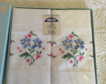 Heritage Hand Embroidered Pillowcases - New Old Stock 1960s
