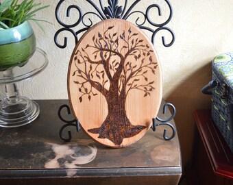 Woodburned Tree Plaque