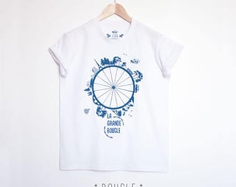 Men Tee shirt handprinted, white and blue, bike, bicycle, cycling tee, adventure, traveller, mens gift, fathers day gift, men, love my bike