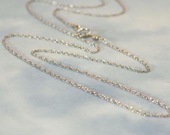 """16-36"""" 14k White Gold Rope Chain, 14k Solid White Gold Rope Chain 1.1mm Rope Chain- 14k Pendant Chain, 14k Layer Chain, 14k Minimalist Chain"""