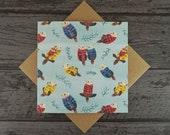 Sea Otters Wearing Plaid Shirts Cute Otter Greetings Birthday / Anniversary / Mothers Day / Fathers Day / Valentines Day Card - Blank inside