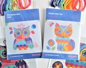 2 Kits - Owl and Fox Cross Stitch Kits - Florence the Owl and Hazel the Fox 2 Kits Double Pack Special Purchase 14 Count Cute Animal Designs