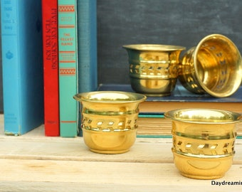 Vintage Brass Votive Holders 4 Candle Holders New Old Stock Made in India Mid Century Brass Shower Decor Wedding Decor  Jungalow style