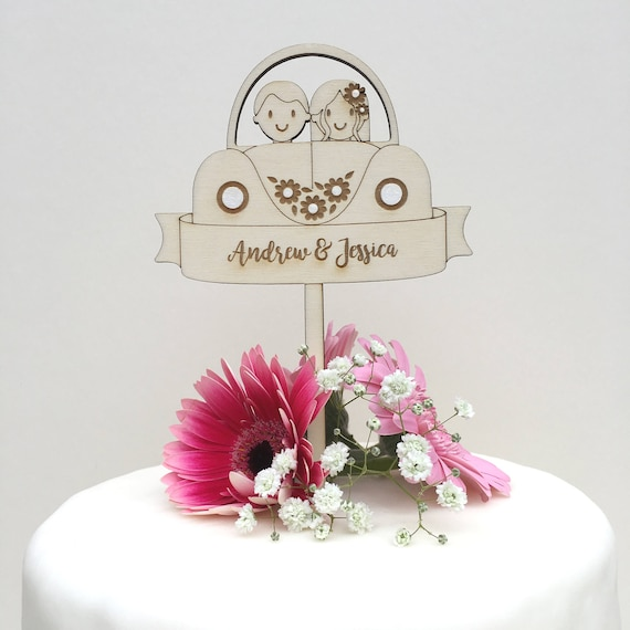 Car wedding cake topper - cute car topper - rustic topper - wooden topper - cake decoration