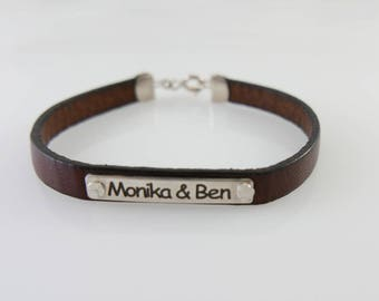 Name leather bracelet. Personalized bracelet. Sterling silver bracelet. Personalized jewelry.monogram bracelet. Unisex bracelet.
