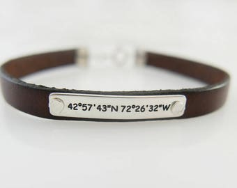 Silver Roman Numeral Number, Custom Hand Stamped  Nameplate Bracelet, Personalized  leather Bracelet, Birthday Gift, Anniversary gift