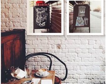 Urban Photography Caffee Shop set of 2 prints Urban Fine Art Photography Kitchen wall art decor