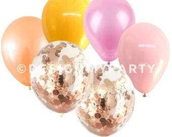 Flamingo Glam Peach, Pink & Rose Gold Balloon Mix With 2 Confetti Balloons (12 Pack)