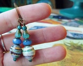 Modern Art Watercolor Book Paper Bead Earrings Color Stacks