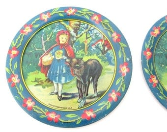 Antique Ohio Art Little Red Riding Hood Tin Litho Toy Tea Set Pieces / Set of 4