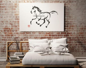 Horse Painting, Wild Horses, Calligraphy Art, Sumi-e, Surreal Artwork, Minimalist Watercolor, Zen
