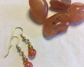 Carnelian drop earrings, ...